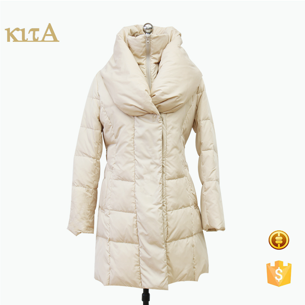 women cheap big turn-down collar long quilted cotton coat