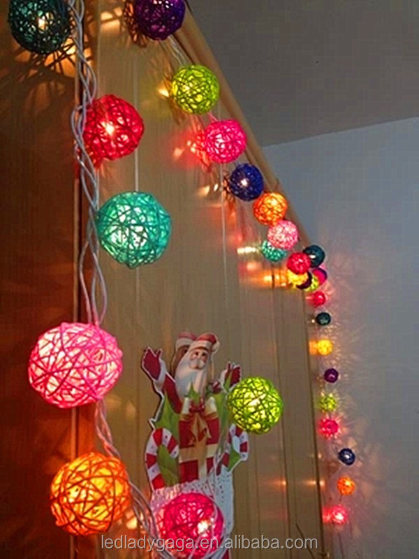 220cm 20 pcs Multi-colors Rattan balls DIY Home Decoration Colorful LED String Light Dia. 5cm Christmas Multiclolor String light