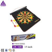 "Best quality portable scroll type soft dart board 15"" Wall-mountable magnetic darts plate"