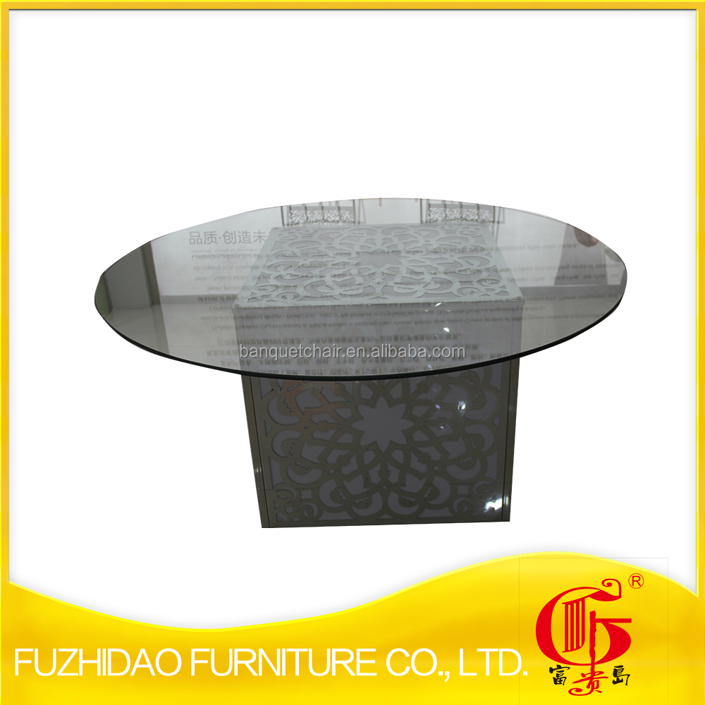stainless steel cube base table with tempered glass top and LED flash light