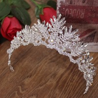 HB0112 JN Crystal tiaras and crowns baroque vintage beaded leaf crown bridal wedding hair accessories