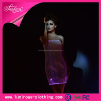 newest fiber optic clothing luminous sexy sex prom evening gown models