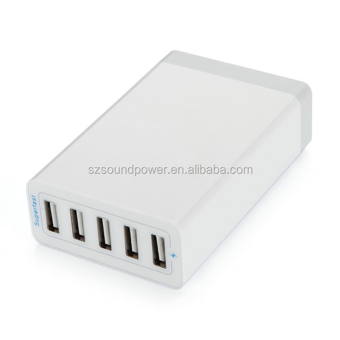 Phone Accessory Wholesale 5V8A 5-port USB Charger 40W 5USB Charger Station with Smart IC