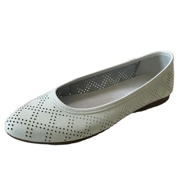 Womens Hollow Out Leather Ballet Flat Shoes