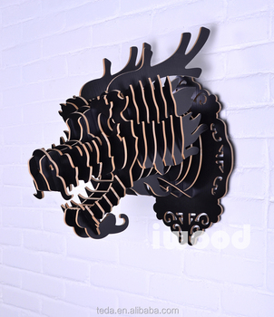 DIY wooden Dragon head for wall decoration