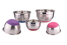 Stainless steel thermal serving bowl with silicone bottom