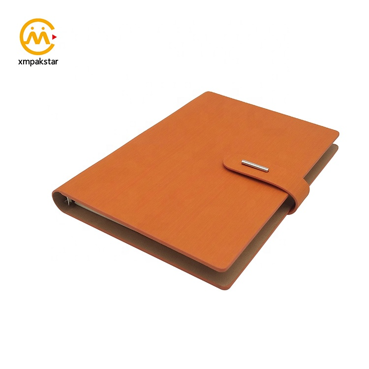 High quality customized multi-size loose-leaf binding pu planner meeting agenda notebook