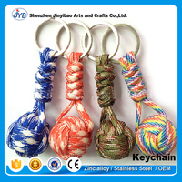 customized survival tool parachute keyring rope knot braided keychain