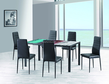 Italian royal design luxury elegant modern rectangular glass top dinning dining table set modern, table with 6 chairs