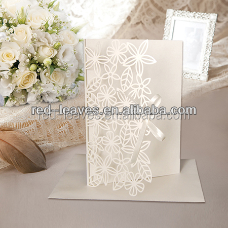 Engraved art paper invitation foil paper engraving art wedding card welcome cards with wordings HG1201-07