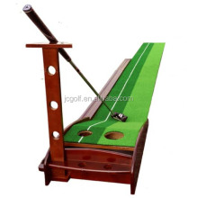 Solid Wood ball return channel indoor Golf Putter Trainer Practice Mat