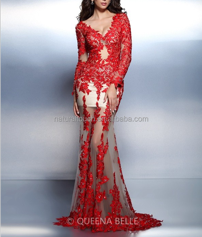 The Latest Design Trumpet Or Mermaid V Neck Long sleevess Applique Sweep/Brush Train Lace Dress(QZ030425)