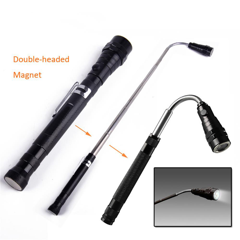 Magnetic Pickup Tool Retractable 3 LED Flashlight Telescopic Extending Torch With Magnetized Head Finder Pick Up Tool