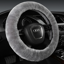 Hot sale Winter Colorful Soft Anti-slip Pure Wool Warm Plush Fur Car steering wheel cover