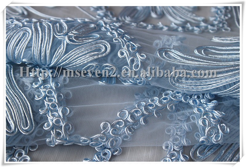 Elegant light blue Embroidery wedding veil lace fabric for lady dress