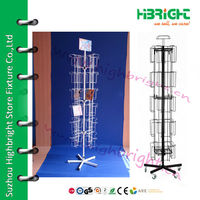 Rolling 6 Tier Metal Wire Spinning CD Display Rack with Sign Holder