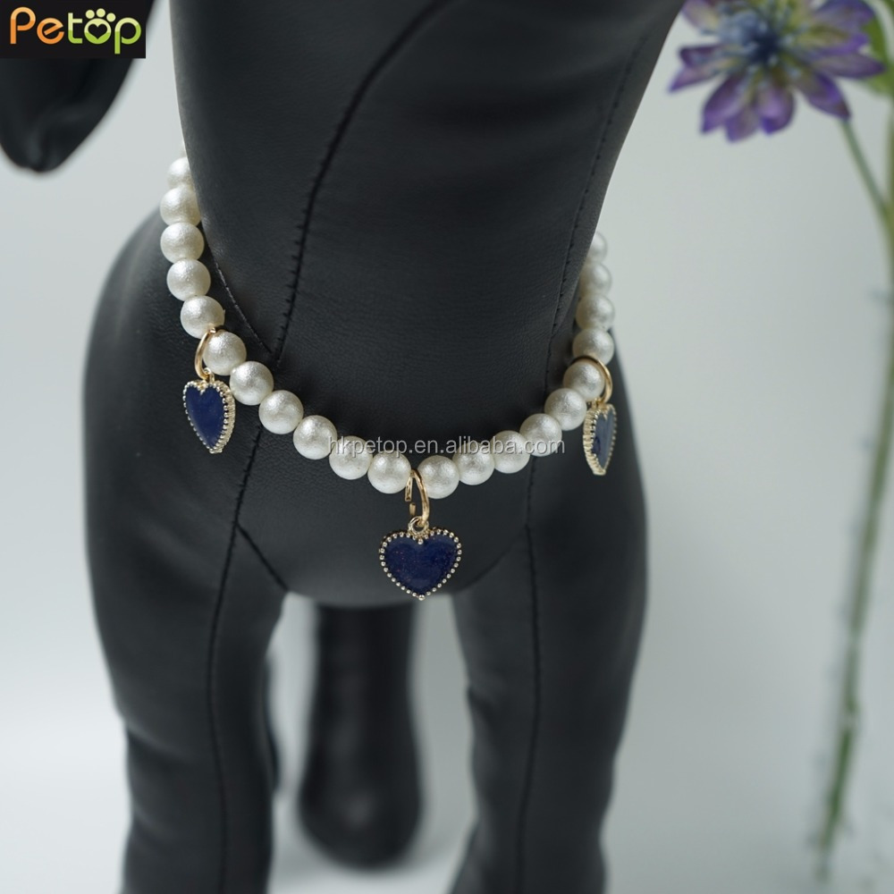 Pearl Necklace With Heart Dog Clothes Pet Accessories