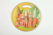 GM-B210 colorful round non-stick rainbow kitchen knife set