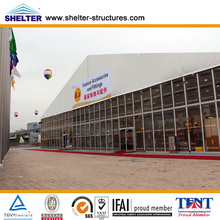 40x100m quick second hand large outdoor temporary clear span solid glass wall canton fair exhibition tent made by shelter