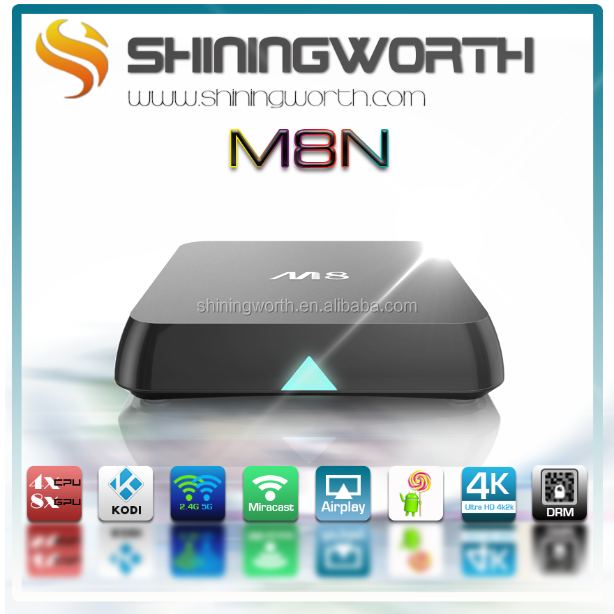 Ultra HD 4K*2K H.265 M8 shiningworth M8N customized launch android tv box With Kodi helix Support multiple video decoding