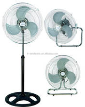 "18""stand fan 3 in 1,4 holes round base, electric fan factory"