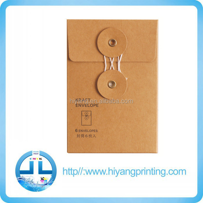 Alibaba High Quality Kraft Paper String and Button Envelopes, Kraft Paper Envelope with String