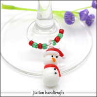 Handmade murano cup glass red scarfed snowman bead charms with seed beads