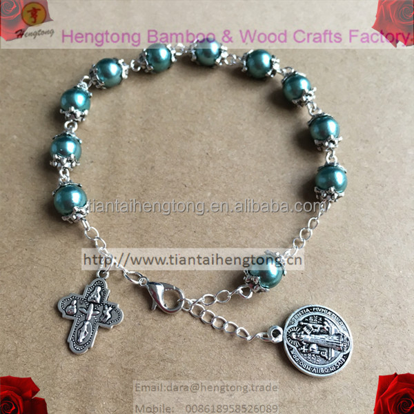 saint benedict bracelet, catholic rosary bracelet, faux pearl bangle with Tail chain