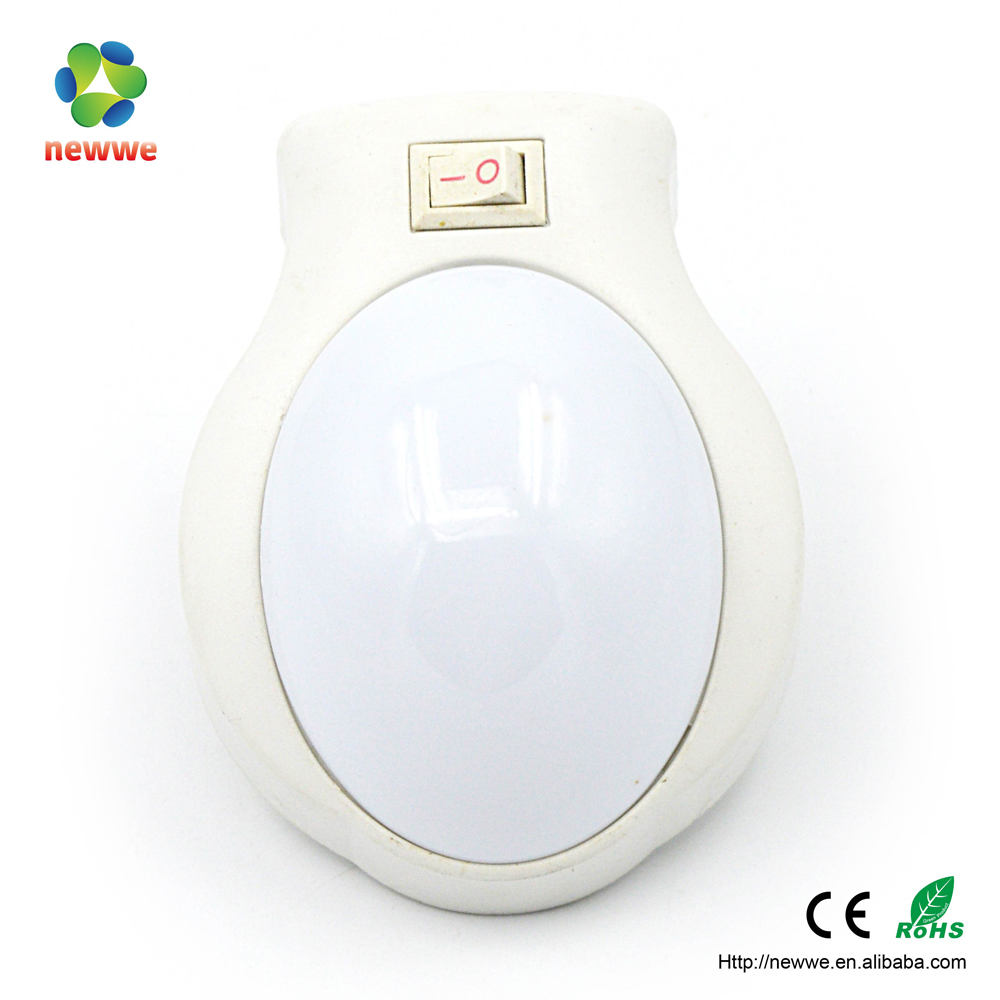 3 LED small plastic electric plug bedroom night small sheeping push light child plug in 3d led baby night light clock