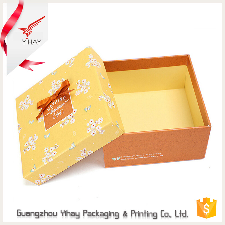 Wholesale custom gift packaging box luxury wedding printed square paper cardboard paper gift box with lid