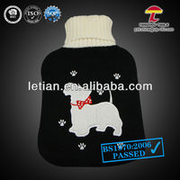 2000ml hot water bag cover black with cute dog animal shape water bottle