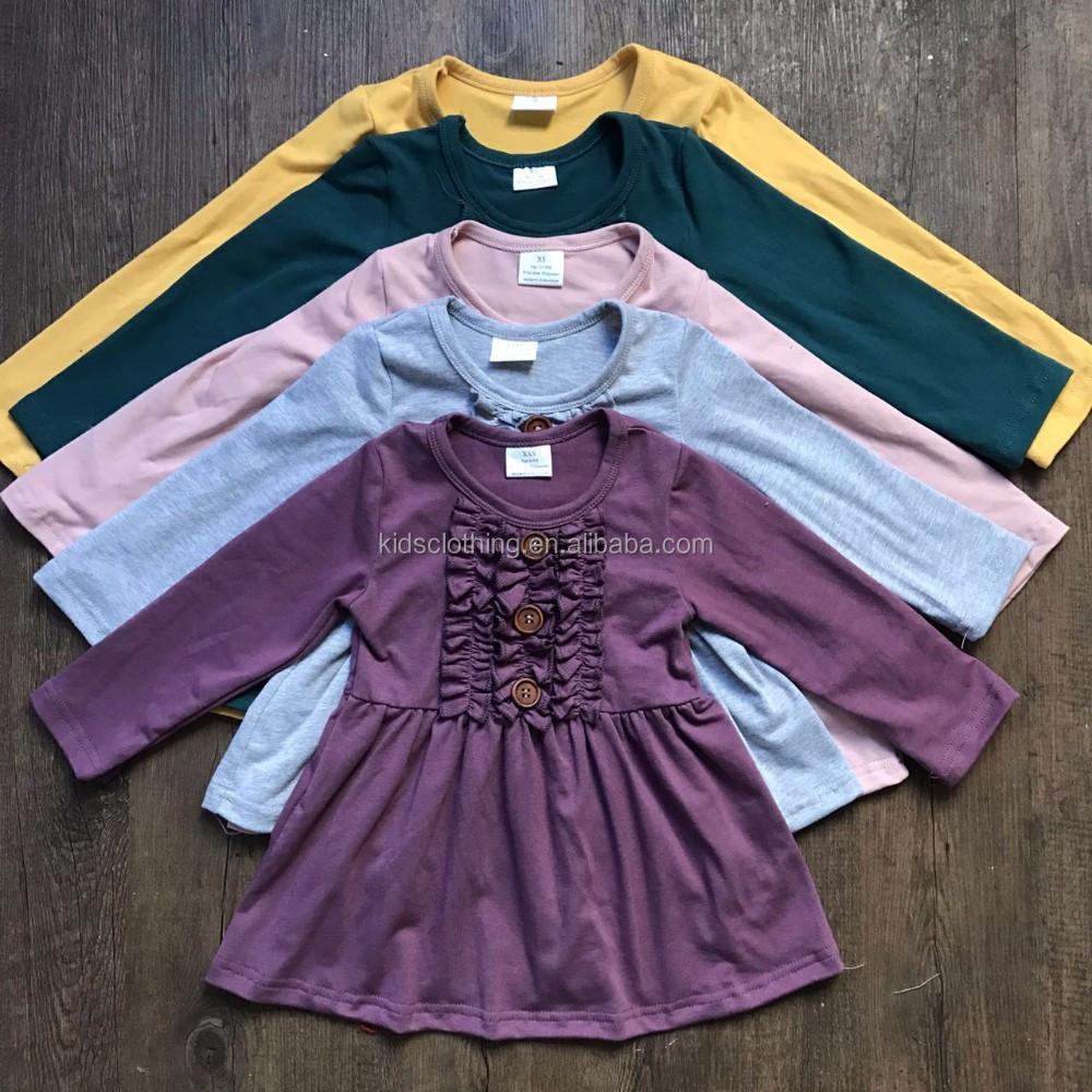 Wholesale kids clothes 2017 frock designs solid colors baby ruffle dresses summer cotton ruffles dress