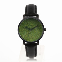 latest design stainless steel unisex wrist watch with green grass watch dial