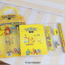 Pokemon go Stationery Set Kids Pen Pencil+Eraser+Notebook+Ruler