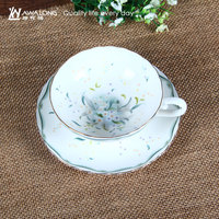 plain style design coffee cup with handle grace tea cup and saucer