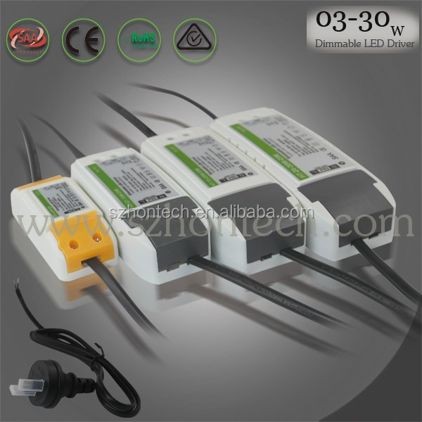 9w driver dimmable saa led driver constant current 300ma 0-100% 5-30w led constant current led driver