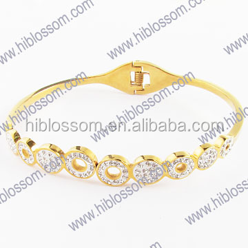new models stainless steel crystal design fake gold bangle