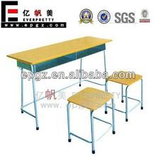 Double Student Desk And Stool,Study Desk And Chair Double Used Middle/High School,Double Student Desk With Bench