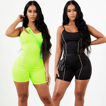 2019 new women sexy strapless playsuit neon color skinny bodysuit Reflective striped patchwork strap backless fitness outfit Gym