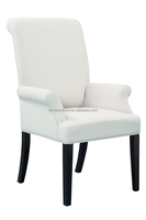 modern arm high quality linen fabric flodling oak rubber wood dining chair