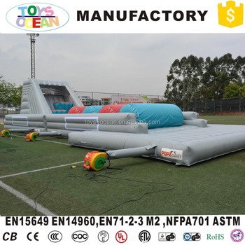 commercial grey adult inflatable obstacle course challenge playground