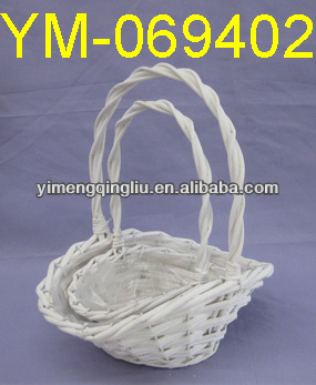 Small White Decorative Flower Basket