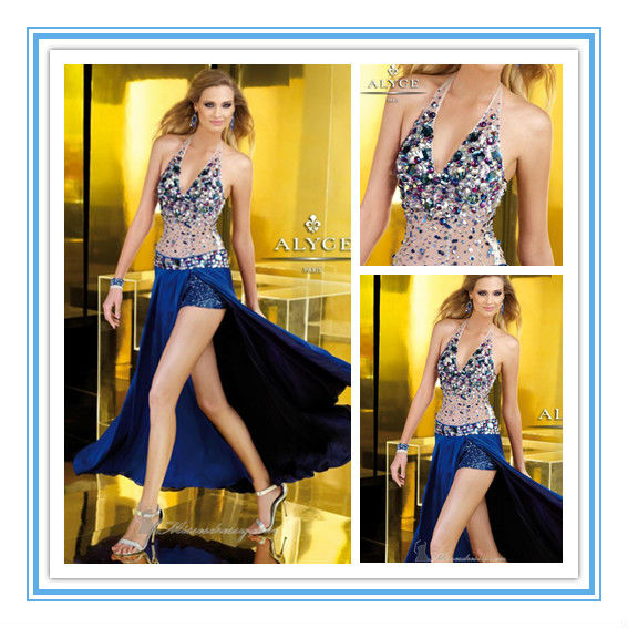 2016 New Style Halter Hi-lo Crystals Birthday Party Dress Evening Party Dress(EVAL-1004)