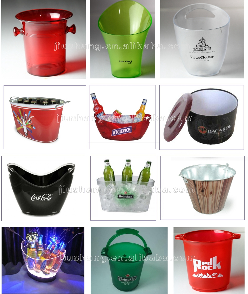 OEM round plastic clear large wine ice bucket with handles