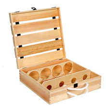 Natural wooden wine gift box for 4 bottle