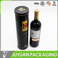 high quality customized cylinder wine bottle metal tin box