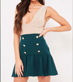 Latest high-waist black/red/green button embellished fishtail mini skirt