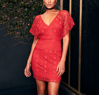 High Quality Red Romantic V-neck Floral Lace Dress Short Length for Women