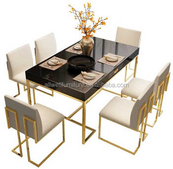 Luxury stainless steel frame dining table and chair sets