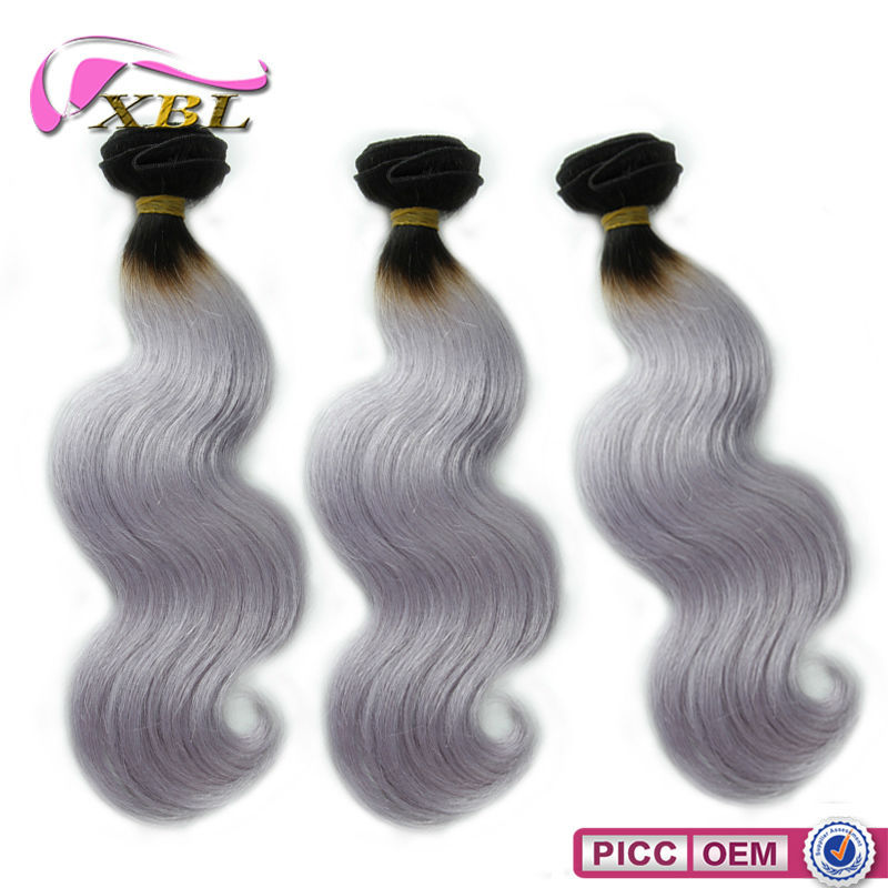 New Arrival Two Tone Silver Color 7A 100% Brazilian Human Hair